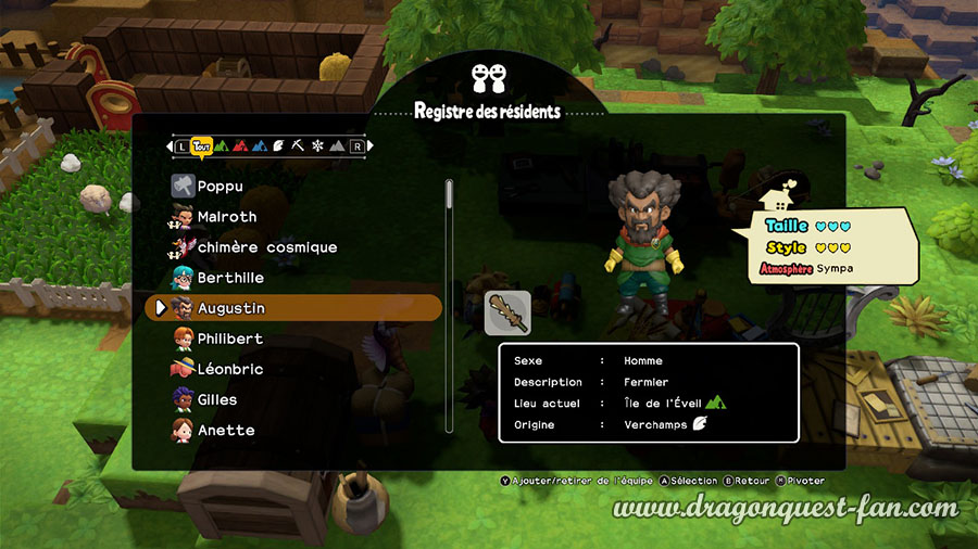 Dragon Quest Builders 2 Salle qui plairont aux résidents
